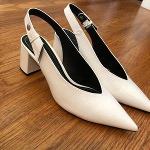 NWT Zara white croc heels !